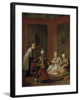A Harem Scene with Turks Drinking Coffee-Christian W.e. Dietrich-Framed Giclee Print