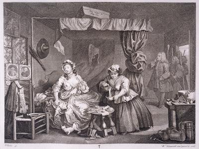 A Harlot's Progress, Plate Iii, from 'The Original and Genuine Works of William Hogarth'-William Hogarth-Giclee Print