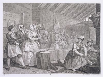 A Harlot's Progress, Plate IV, from 'The Original and Genuine Works of William Hogarth'-William Hogarth-Giclee Print