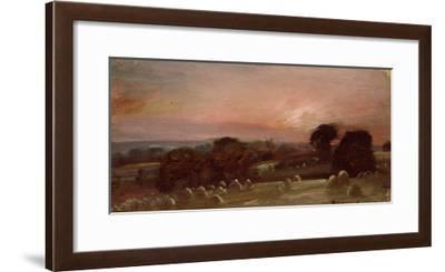 A Hayfield Near East Bergholt at Sunset-John Constable-Framed Giclee Print