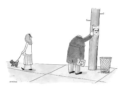 A headless man hangs posters for his own lost head. - New Yorker Cartoon-Jason Patterson-Premium Giclee Print