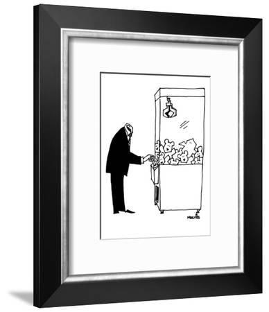 A headless man searches for his head inside a teddy-bear dispensing machin - New Yorker Cartoon-Ariel Molvig-Framed Premium Giclee Print