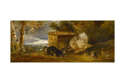 A Hen Defending Her Chickens from the Attack of a Cat-Sir Francis Bourgeois-Giclee Print