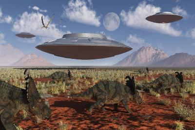 A Herd of Centrosaurus Dinosaurs Walk Past a Group of UFO'S--Art Print