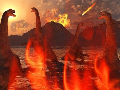 A Herd of Dinosaurs Struggle For Survival During the End of Time-Stocktrek Images-Photographic Print