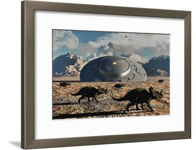A Herd of Dinosaurs Walk Past a Flying Saucer Lodged into the Ground