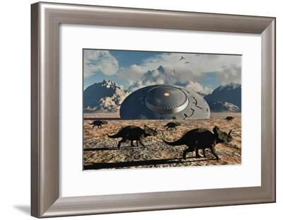 A Herd of Dinosaurs Walk Past a Flying Saucer Lodged into the Ground--Framed Art Print