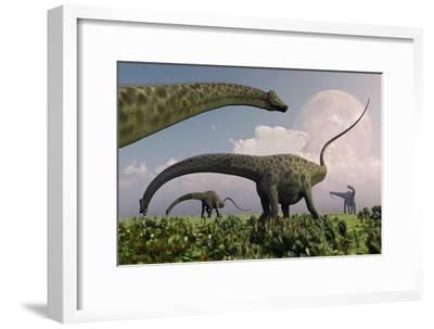 A Herd of Diplodocus Sauropod Dinosaurs Grazing