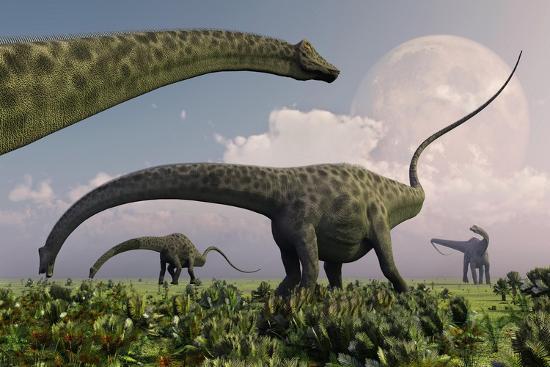 a herd of diplodocus sauropod dinosaurs grazing art print by art com