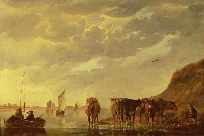 A Herdsman with Five Cows by a River, C.1650 (Panel)-Aelbert Cuyp-Giclee Print
