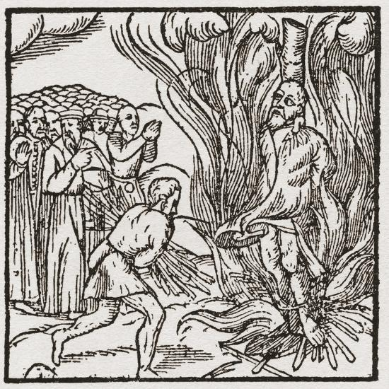 A Heretic Being Burnt at the Stake During the Tudor Period in England--Giclee Print