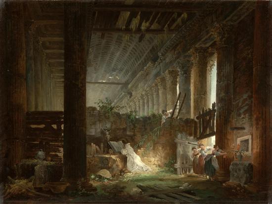 A Hermit Praying in the Ruins of a Roman Temple. c.1760-Hubert Robert-Giclee Print