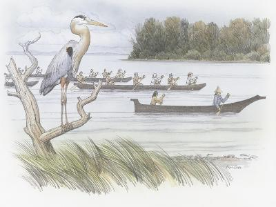 A Heron Perched on a Dead Branch-Roger Cooke-Giclee Print