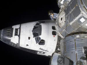 A High-Angle View of the Crew Cabin of Space Shuttle Atlantis