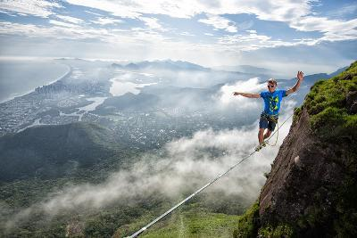 A Highliner Traverses Two Cliffs Above Rio De Janeiro-Keith Ladzinski-Photographic Print
