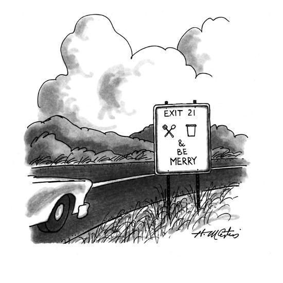 """A highway sign is marked, """"Exit 21, eat, drink & be Merry."""" - New Yorker Cartoon-Henry Martin-Premium Giclee Print"""