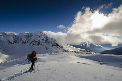 A Hiker Photographing the Winter Landscape (Val D'Ayas, Valle D'Aosta)-ClickAlps-Photographic Print