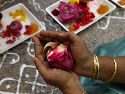 A Hindu Woman Worshipper Holding Rose Offering at the Sri Srinivasa Permual Temple, Singapore-Michael Coyne-Photographic Print