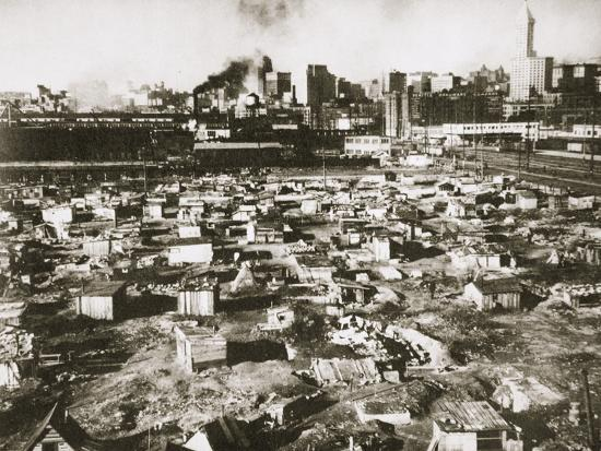 A 'Hooverville' on waterfront of Seattle, Washington, USA, Great Depression, March 1933-Unknown-Photographic Print