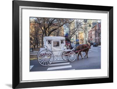 A Horse Drawn Carriage Travels Along Streets Near Chicago's Loop Area-Richard Nowitz-Framed Photographic Print