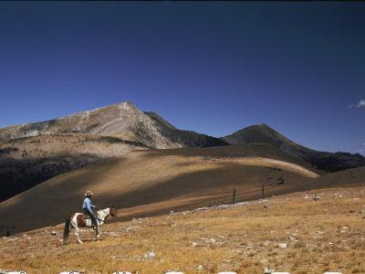 A Horseman Views the Truchas Peaks from Above the Timberline-Justin Locke-Photographic Print
