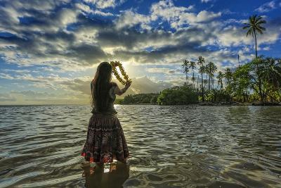 A Hula Dancer in Low Tide Water in Front of Kapuaiwa Palm Grove, Molokai Island-Richard Cooke-Photographic Print