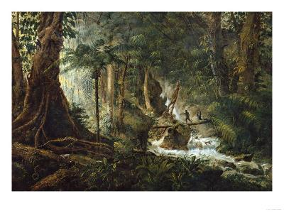 A Hunter and His Family in the Jungle Shooting a Coatimundi-Charles Othon Clarac-Giclee Print