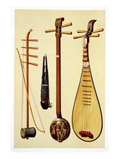 A Huqin and Bow, a Sheng, a Sanxian and a Pipa, Chinese Instruments from  'Musical Instruments' Giclee Print by Alfred James Hipkins | Art com