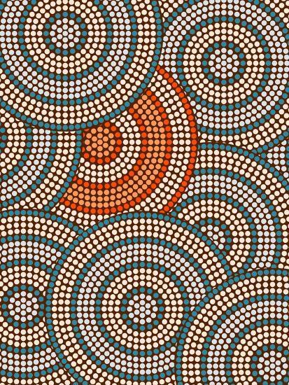 A Illustration Based On Aboriginal Style Of Dot Painting Depicting Circle Background-deboracilli-Art Print