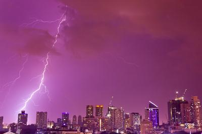 A Intense Thunderstorm with Lightning over the Skyline of Manila-Mike Theiss-Photographic Print
