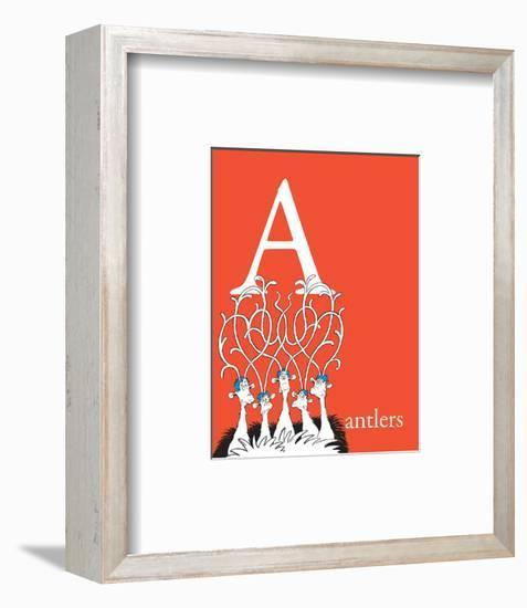 A is for Antlers (red)-Theodor (Dr. Seuss) Geisel-Framed Art Print