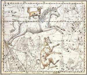 Constellations of Monoceros the Unicorn, Canis Major and Minor from A Celestial Atlas by A^ Jamieson