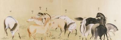 A Japanese Concertina Album in the Chinese Style Depicting a Multitude of Horses--Premium Giclee Print