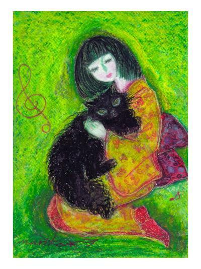 A Japanese Dress Girl Holds Black Cat-Mariko Miyake-Giclee Print