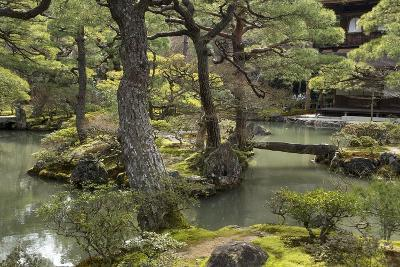 A Japanese Garden with Pond and the Silver Pavilion in the Background, at Ginkaku-Ji-Macduff Everton-Photographic Print
