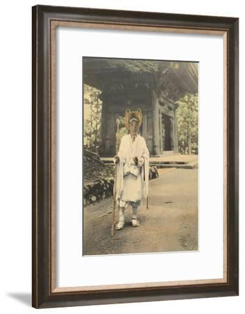 A Japanese Priest-Doctor Walks Along a Road Carrying a Few Wares-Kiyoshi Sakamoto-Framed Photographic Print