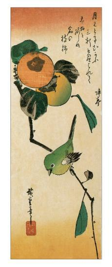 A Japanese White-Eye on a Persimmon Branch-Ando Hiroshige-Giclee Print