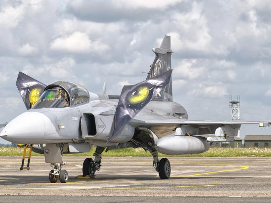A JAS-39 Gripen of the Czech Air Force at Cambrai Air Base, France  Photographic Print by Stocktrek Images   Art com