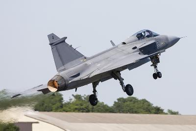 A Jas-39 Gripen of the Swedish Air Force Taking Off-Stocktrek Images-Photographic Print