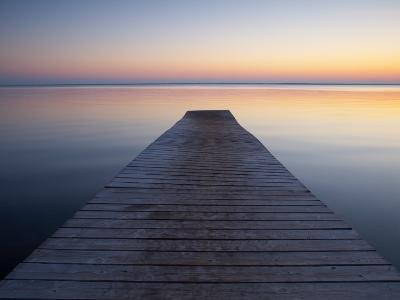 A Jetty by a Lake at Sunset--Photographic Print