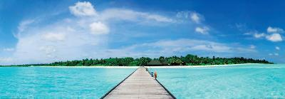 A Jetty Leading to a Beautiful Tropical Maldivian Paradise--Art Print