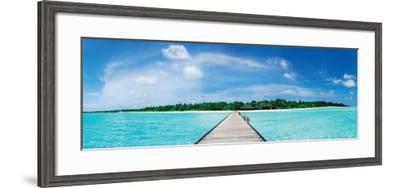 A Jetty Leading to a Beautiful Tropical Maldivian Paradise--Framed Art Print