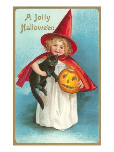 A Jolly Halloween, Little Girl Witch with Cat and Jack O'Lantern--Art Print