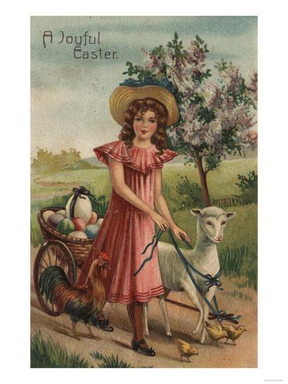 A Joyful Easter - Girl Walking Lamb, Chick, and Rooster-Lantern Press-Art Print
