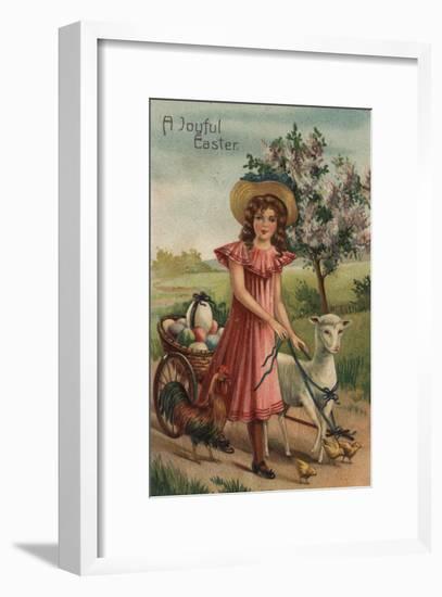 A Joyful Easter - Girl Walking Lamb, Chick, and Rooster-Lantern Press-Framed Art Print