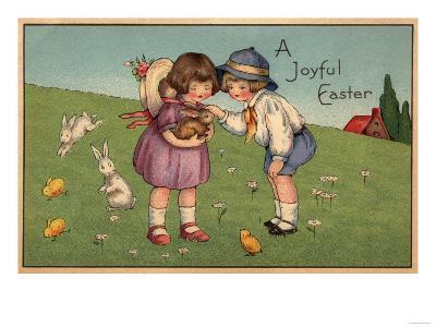 A Joyful Easter - Kids Holding a Bunny-Lantern Press-Art Print