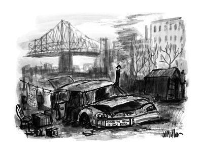 A junked car used as a house for a homeless person has a bumper sticker on? - New Yorker Cartoon-Warren Miller-Premium Giclee Print