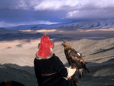 A Kazakh Eagle Hunter with His Bird in the Winter-David Edwards-Photographic Print