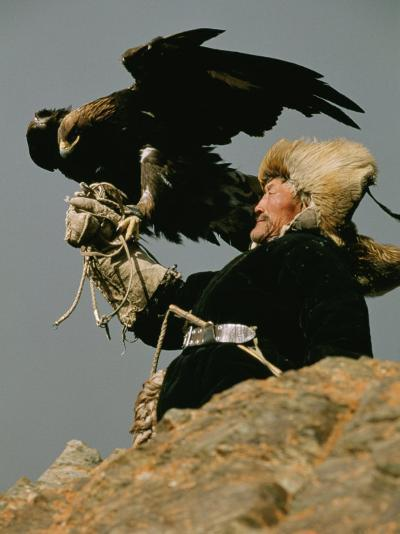 A Kazakh Man Supports His Trained Golden Eagle-David Edwards-Photographic Print