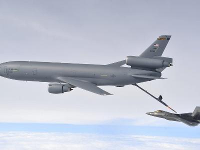 A KC-10 Extender Refuels An F-22 Raptor-Stocktrek Images-Photographic Print